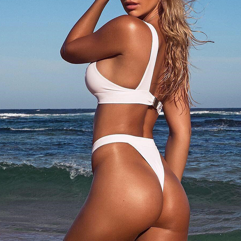 HTB1JQYqNNnaK1RjSZFtq6zC2VXap In-X One shoulder bikini 2019 Buckle high cut swimsuit Sexy thong bikini Hollow out bathing suit White push up swimwear women