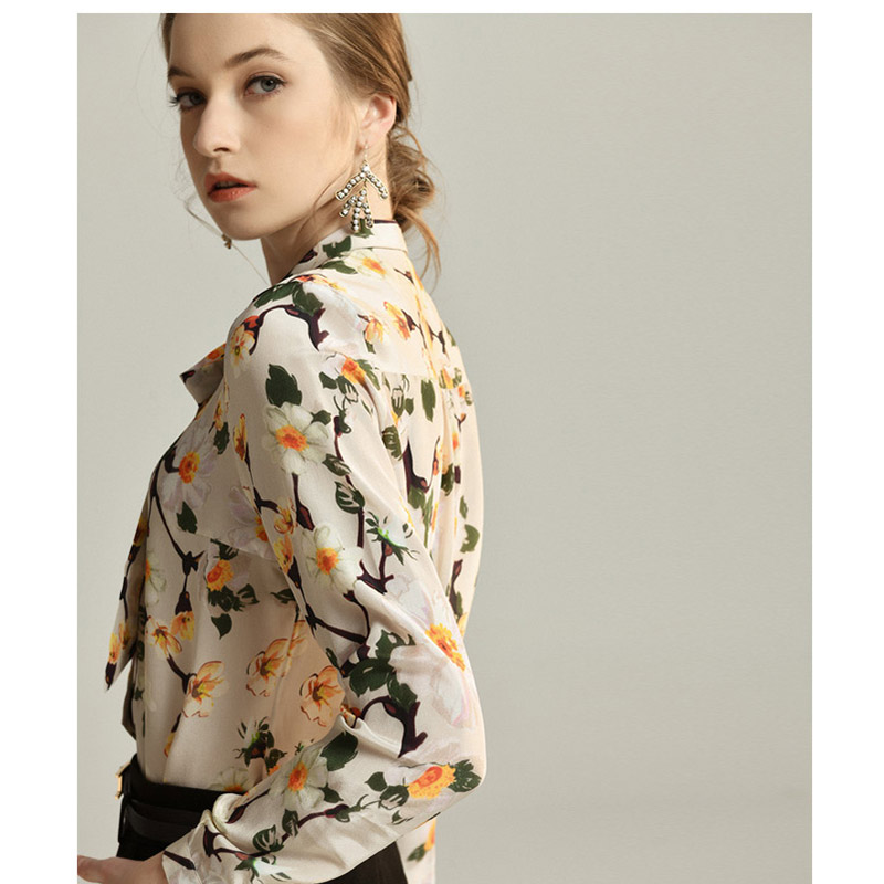 100 Silk Blouses For Women High Quality Printed Lace Up Floral Print Womens Blouse Silk Shirts Women Natural Silk in Blouses amp Shirts from Women 39 s Clothing