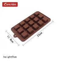 15 구멍 눈송이 광장 실리콘 초콜릿 사탕 금형 베이킹 비누 금형 팬 DIY 쿠키