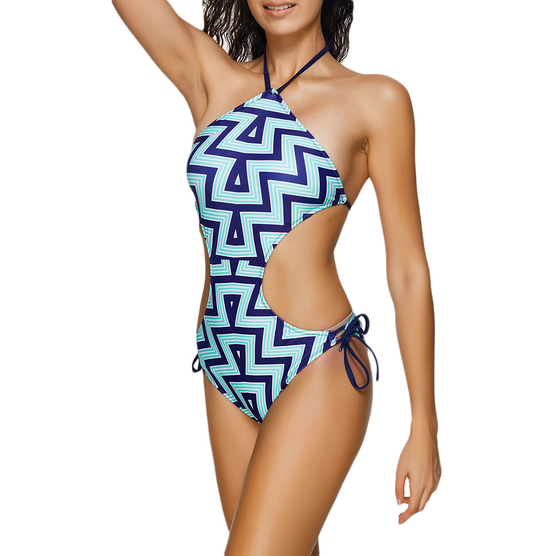 ab9ebbd7f Bikini 2018 Plus Size One Piece Swimsuit Women Geometric Swimwear Sexy  Backless Roupa de banho Hollow Out Beach Wear Swim Suit-in Body Suits from  Sports ...