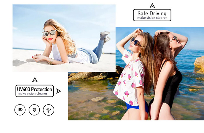 FREE Round Women Metal Frame Gold Pink Blue Lens Fashion Sunglasses 4