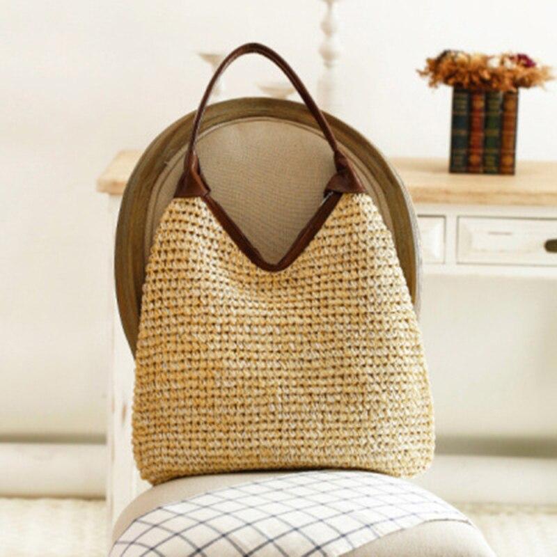 OCEHNUU Summer Vacation Women Beach Bags straw Totes Bag 2020 Bolsa Feminina Big Fashion Women's Bags Shoulder Bag Flower Zipper 1