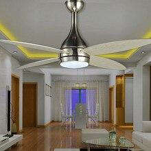 Moderno Ventilador LEDd e techo niquelado de 18w, con iluminación de luces de lámpara, ventilador de techo a control remoto, ventiladores europeos de madera de 220v