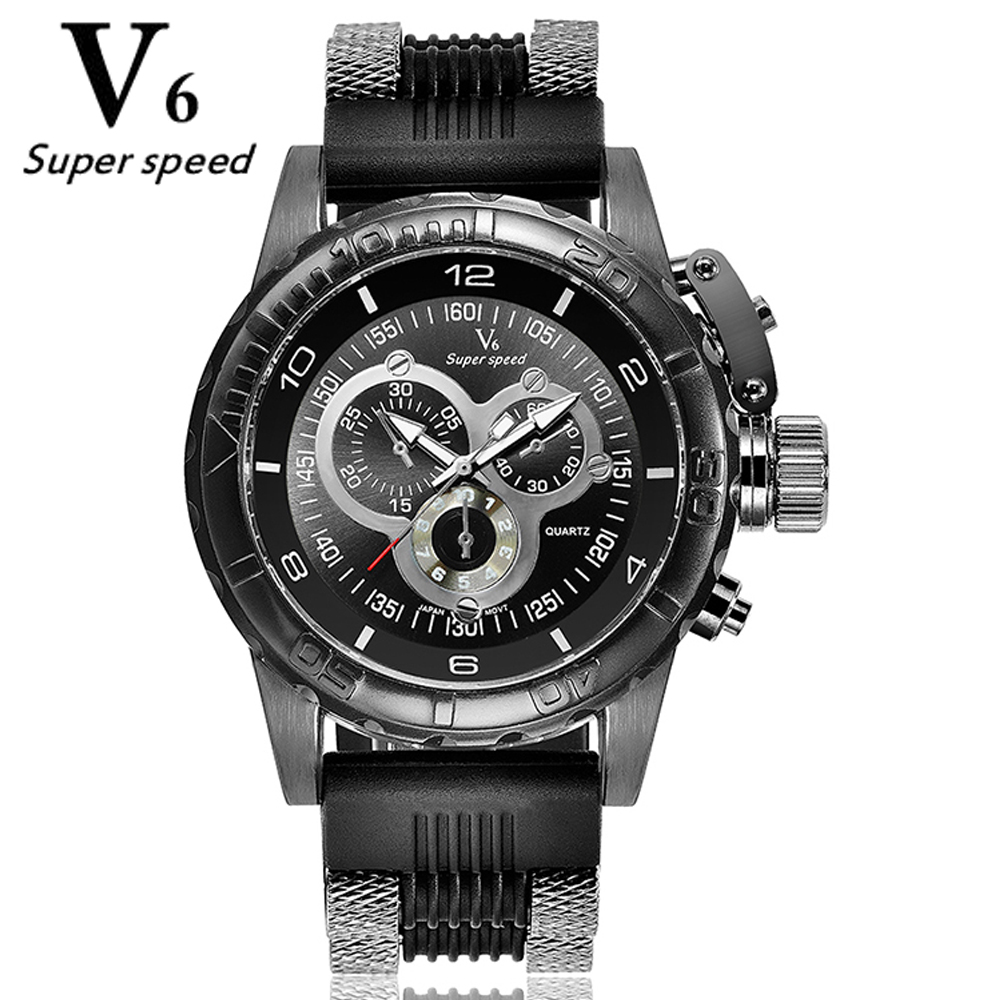 Hot Fashion Men Sports WatchesV6 Men Quartz Watch Hour Clock Man silicone Strap Military Army Waterproof WristWatch Male Relogio binger nylon strap watch hot sale men watch unisex hour sports military quartz wristwatch de marca fashion female male relojes
