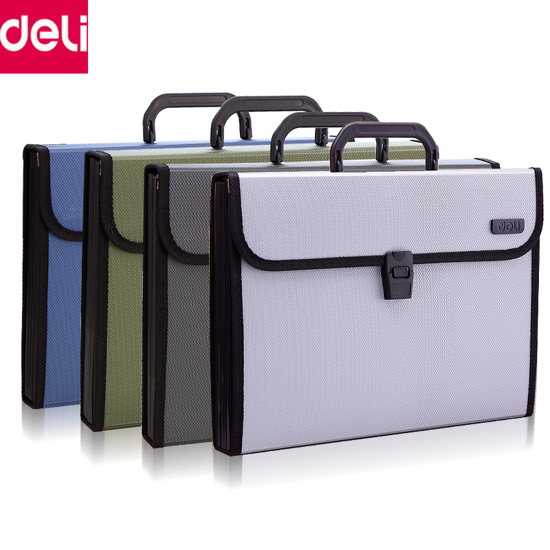 Deli A4 File Folder Document Bags Expanding Wallet Business Series Folder Bag Office School Supplies deli 1pcs waterproof business a4 paper file folder bag high quality pu document rectangle office home school folder supplies