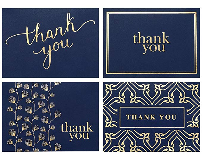 4pcs Thank You Cards Blank Gold Foil Notes Cards With Envelope 4x6 Inch Cardstock Paper Stationery For Wedding Invitation Cards