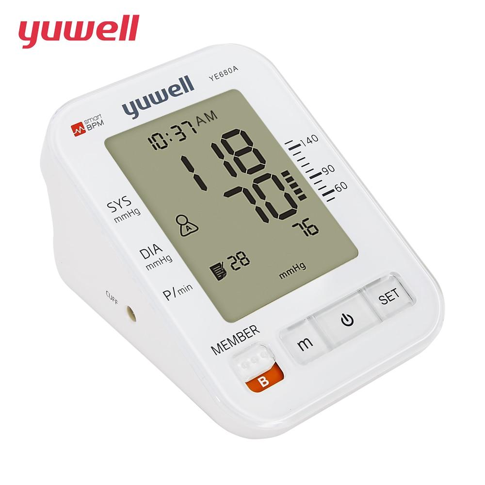 цена yuwell Upper Arm Blood Pressure Monitor Double memory Intelligent Pressurized Sphygmomanometer Heartbeats Medical Equipment CE онлайн в 2017 году