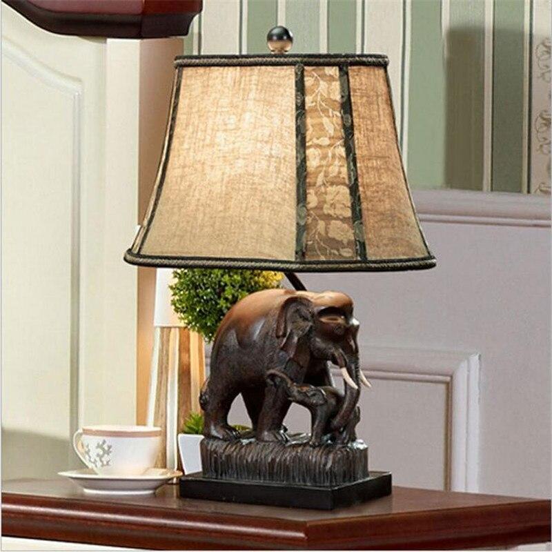 Handmade Southeast Asia Elepant Resin Fabric Led E27 Table Lamp for Study Living Room Bedroom AC 80 265V 1315