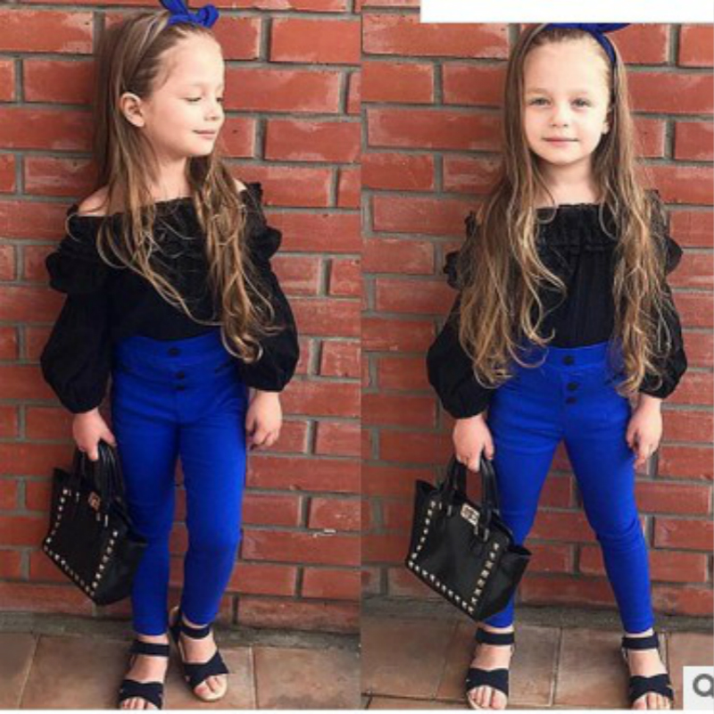 Autumn Trend Children Child Woman Units Off Shoulder Shirt T-Shirt Black Prime+Blue Pants Garments Cotton Informal Clothes 2Pcs Outfit
