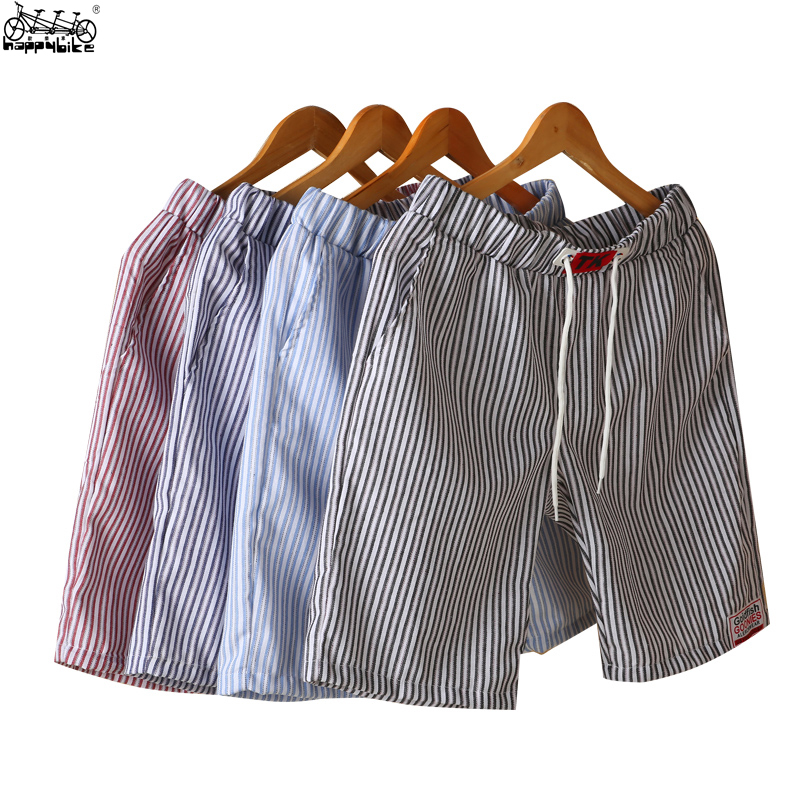 HappyBike Casual Mens Shorts Striped Drawstring Short Homme Elastic Waist knickers Male Beaching Shorts Trousers Wholesale