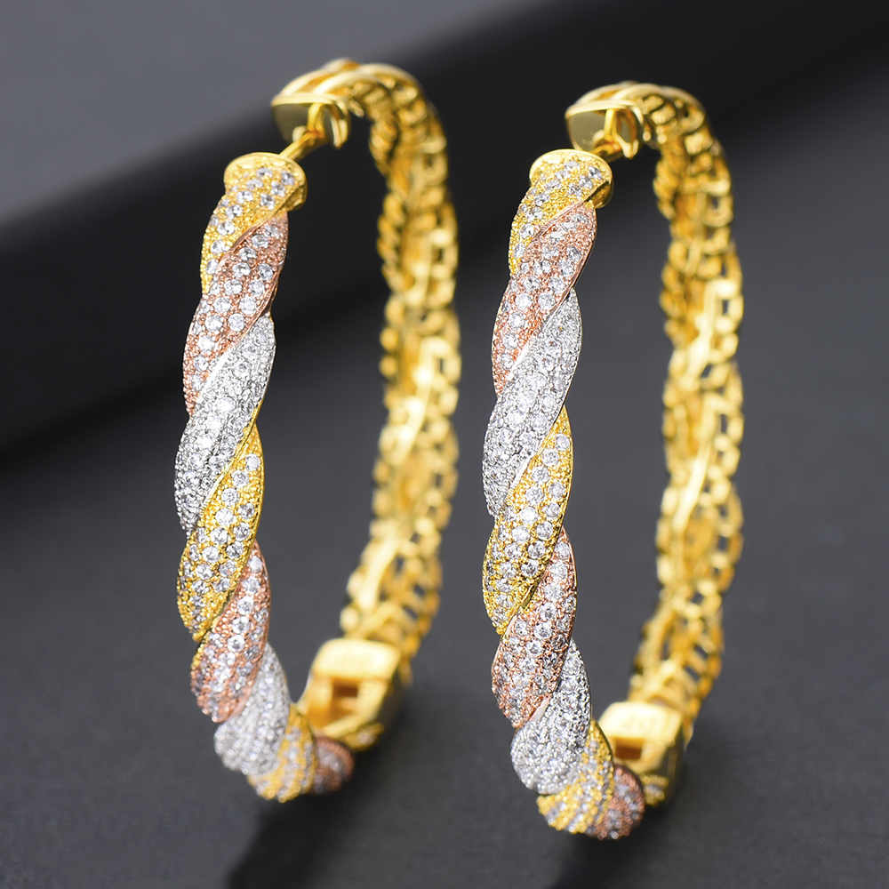 GODKI Luxury 3 Tone Cubic Zircon CZ Statement Big Hoop Earrings For Women Wedding DUBAI Bridal Round Circle Hoop Earrings 2019GODKI Luxury 3 Tone Cubic Zircon CZ Statement Big Hoop Earrings For Women Wedding DUBAI Bridal Round Circle Hoop Earrings 2019