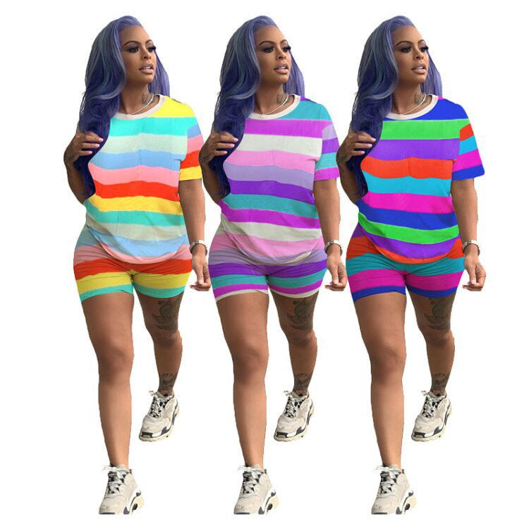 2020 women summer rainbow stripes print o-neck short sleeve t-shirt & shorts suit two piece set tracksuit outfit S-3XL
