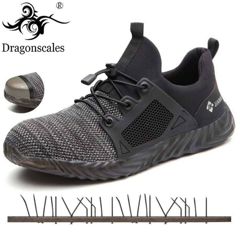 Sapatos de trabalho Dos Homens Botas De Biqueira De Aço de Construção Ao Ar Livre Homens Respirável Anti-perfuração Anti-ácaro de Alta Qualidade Dos Homens De Segurança sapatos 36-48