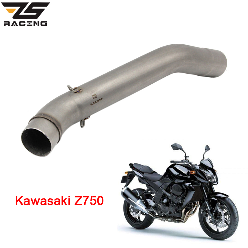 ZS Racing Motorcycle <font><b>Exhaust</b></font> Middle Pipe Muffler for <font><b>Kawasaki</b></font> <font><b>Z750</b></font> Z750R 2007-2012 Without <font><b>Exhaust</b></font> image