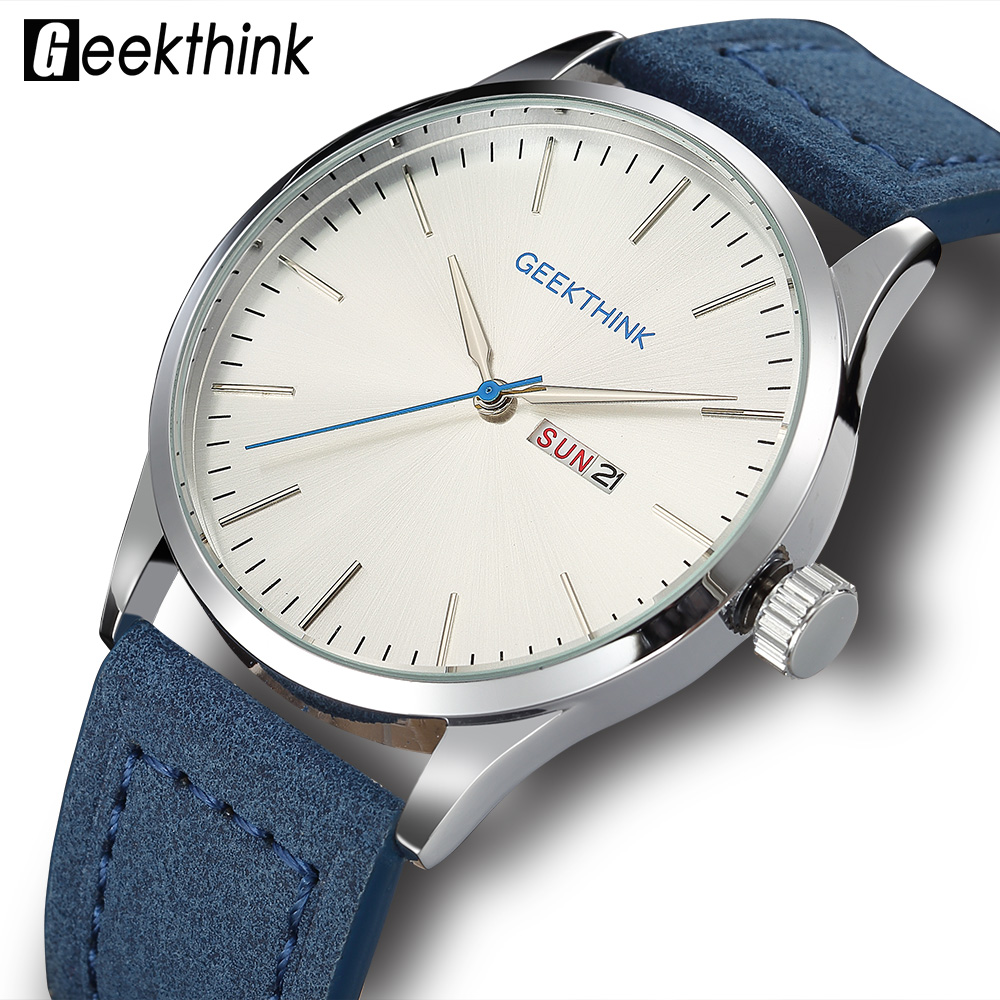 Blue Leather Band Designer Quartz Watches Men Urban Students Casual Fashion