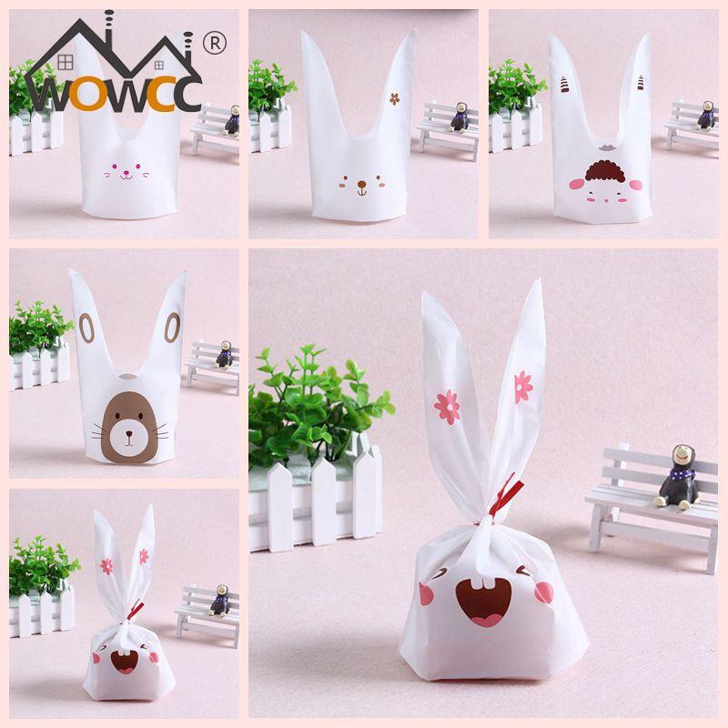 Cute easter bunny cookies bag 50pcs 50pcs for Rabbit decorations home