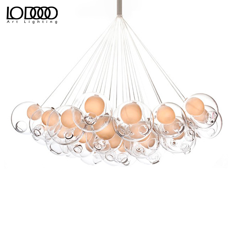LODOOO Creative glass bubble ball chandelier modern dining room double staircase staircase clothing shop cafe light ten second staircase