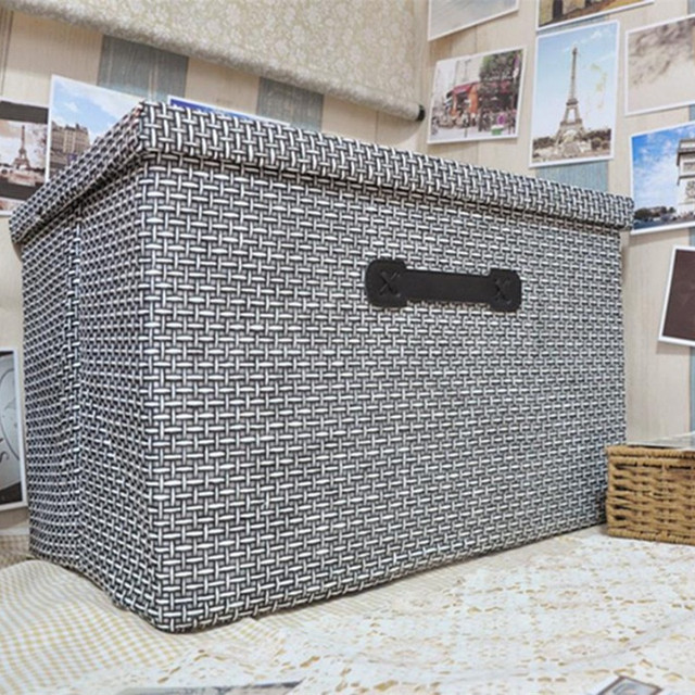 Handmade Straw Collapsible Storage Box Large Cloth Covered Storage Box  Drawer Sorting Clothes Toys Storage Basket