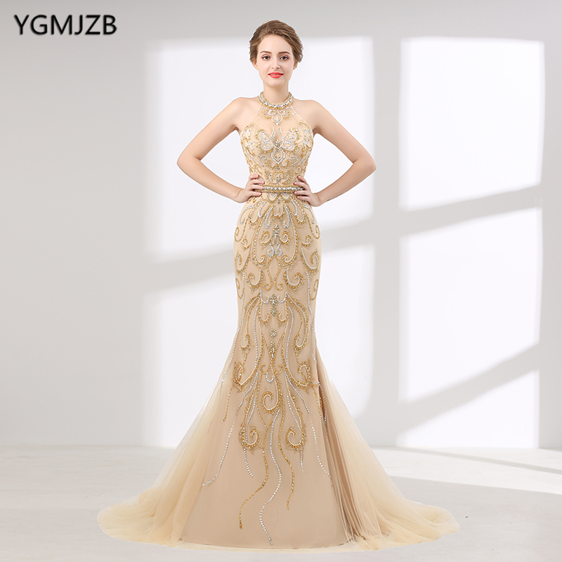 Luxury Long   Evening     Dress   2018 Mermaid Style Beaded Crystal Floor Length Sexy Women Formal   Evening   Gowns Robe De Soiree