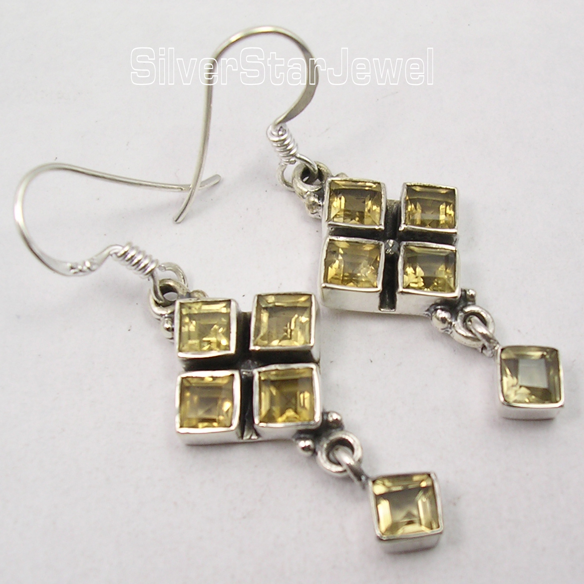 Silver Citrines LOVELY SQUARES Dangle Earrings 4.4CM ...