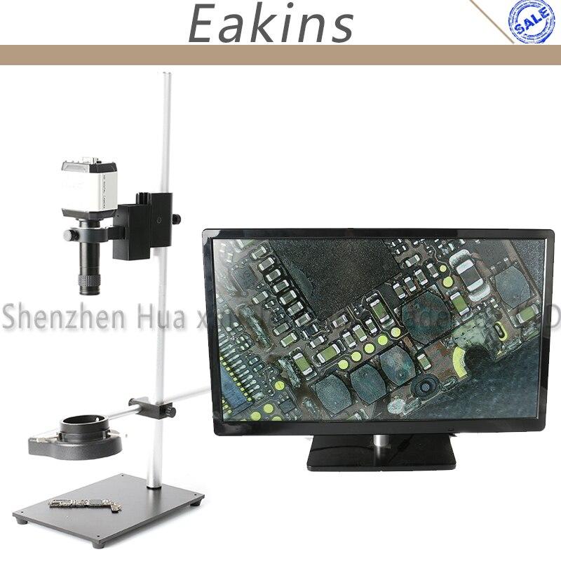 High Working Distance Stand Holder PCB Phone Repair 144 LED Light Zoom 100X Lens VGA/AV/USB Industrial Video Microscope Camera