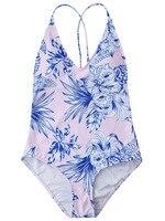 Biquini 2018 Traje De Bano Mujer Pink Blue Prints Swimwear Women Beach One Piece Swimsuit Sexy