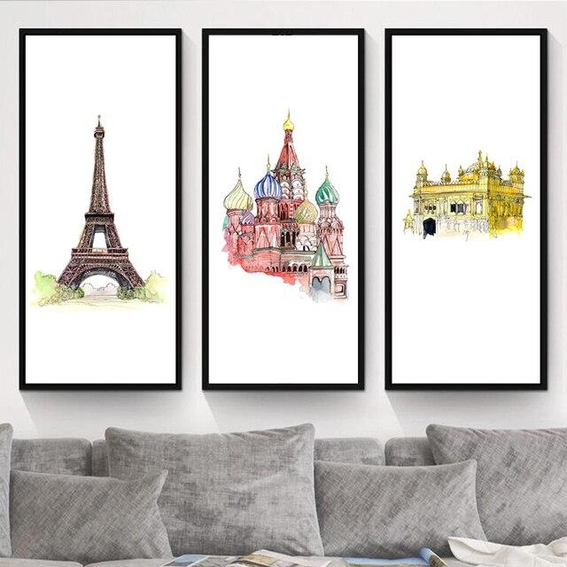 Wereld Landmarks Canvas Prints Aquarel Beroemde Stad Schilderen