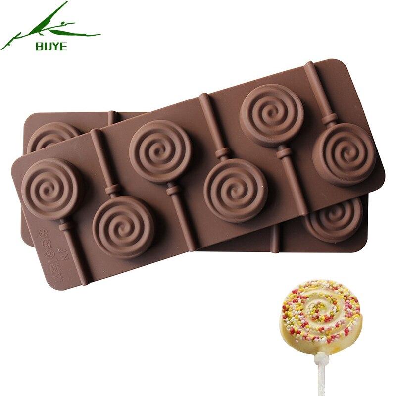 1pcs 6 Holes Diy Round Vortex Shape Lollipop Molds