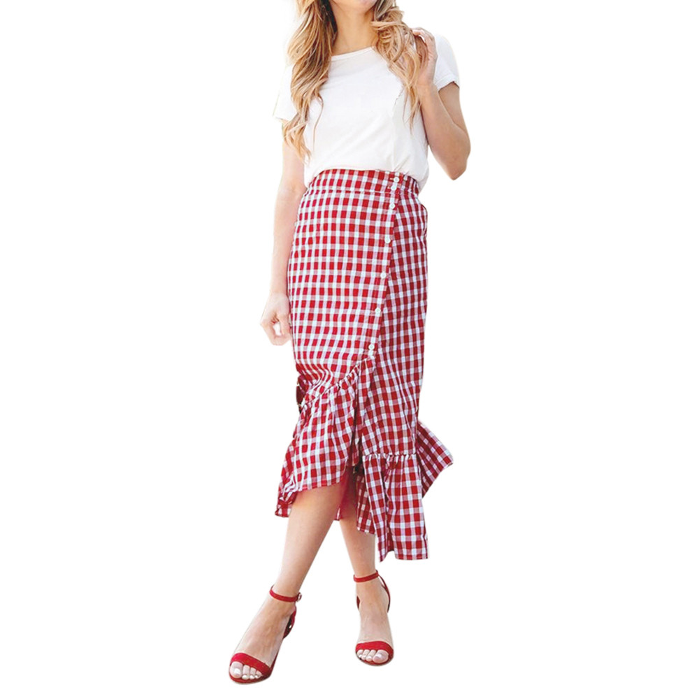 Jaycosin skirt  fashion summer ladies plaid ruffled button slit high waist asymmetric skirt street casual stretch high waist