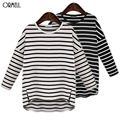 ORMELL Women Loose Side Split Long T Shirt O-Neck Long Sleeve Shirts Bacis Brief Stripped Femininas European Casual Tops