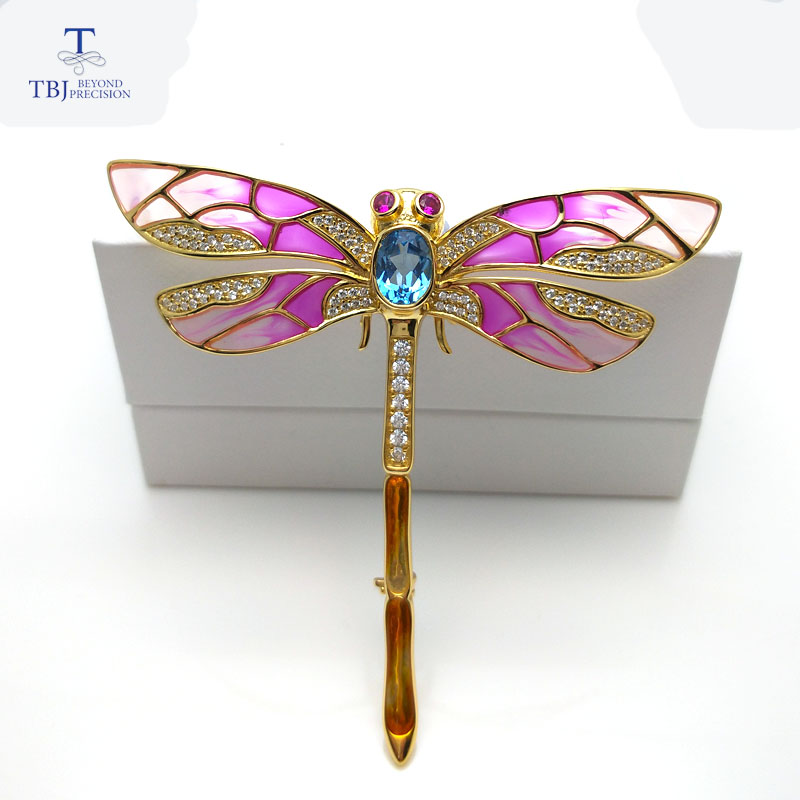 TBJ,dragonfly design brooch with natural blue topaz in 925 sterling silver yellow gold color,special elegant brooch for women chic faux gem inlay dragonfly shape brooch for women