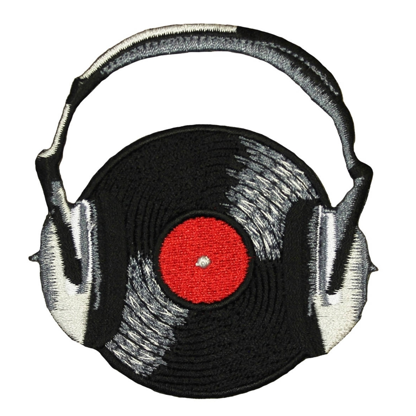 Sewing Record Headphones Embroidery Patch Craft Music Themed Applique DIY Decor