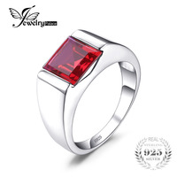 New Promotion Men Pigeon Blood Ruby 3 4ct Engagement Wedding Ring Square Cut For Gift 925