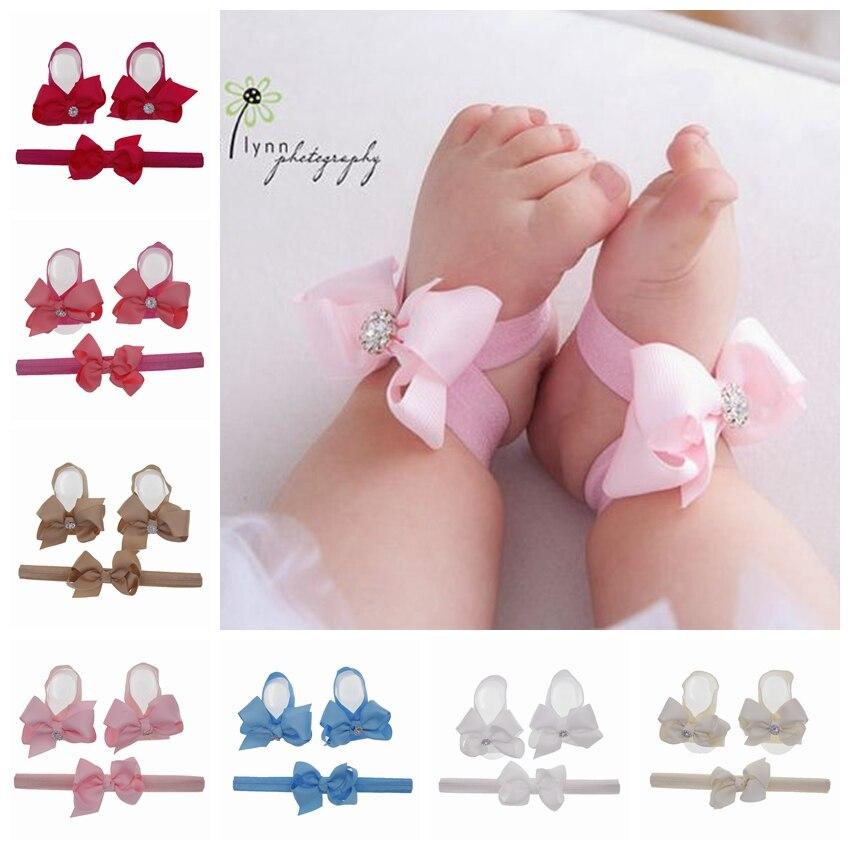 Children Hair Accessories Baby Barefoot Sandals And Headbands Set Kid Shoes Hair Bow Flowers Newborn Headband