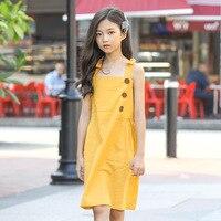 2019 Summer Girl Dress Sleeveless Mustard Dress Children Sundress Vintage Kids Dresses for Girls Fashion Suspenders Clothing