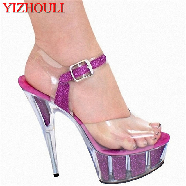 2018 hot sale 15cm fashion Color core sandals 6 inch Platforms high heel crystal open toe sexy Women shoes
