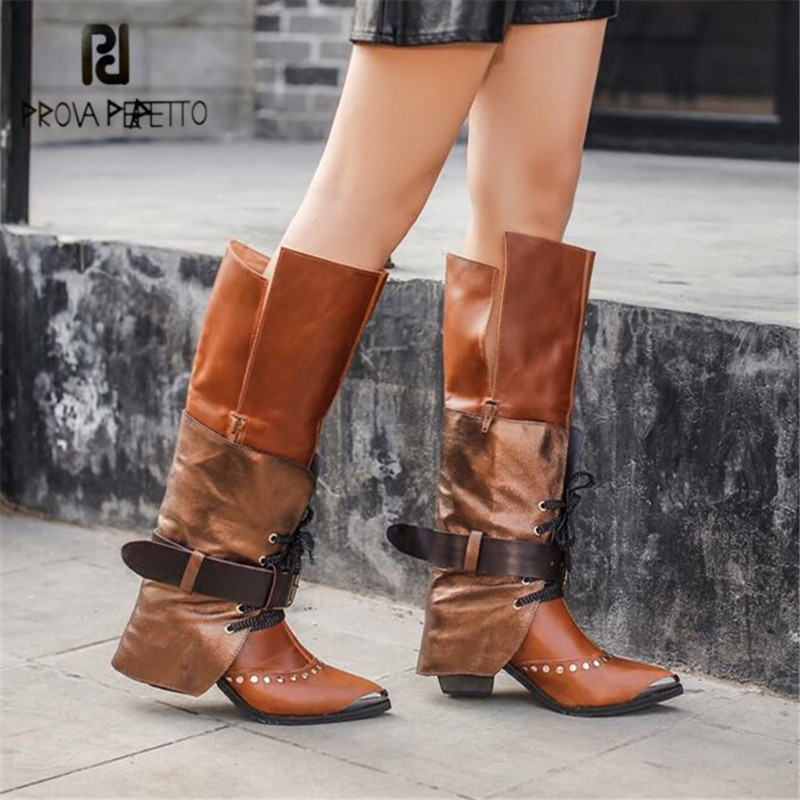 Prova Perfetto Fashion Women Knee High Boots Pointed Toe Riding Boots High Heel Shoes Woman Straps Lace Up Winter Warm Boot cicime summer fashion solid rivets lace up knee high boot high heel women boots black casual woman boot high heel women boots