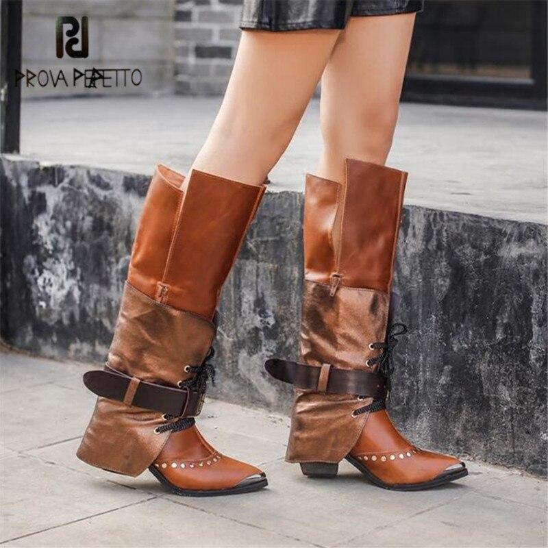 Prova Perfetto moda mujer botas hasta la rodilla puntiagudas botas de montar zapatos de tacón alto Mujer correas de encaje invierno cálido bota