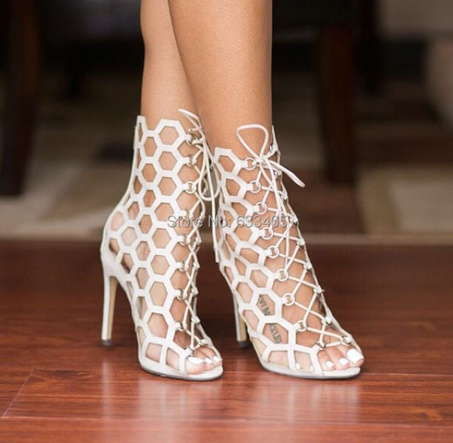 Online Shop 2015 summer newly white/black cut-out ankle Gladiator