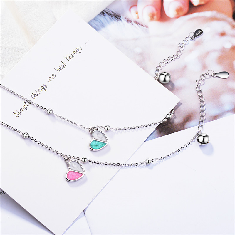 TJP Romantic Heart Female Bracelets Jewelry Top Quality 925 Sterling Silver Bracelets For Women Party Accessories Girl Birthday in Charm Bracelets from Jewelry Accessories