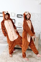 Winter Brown Monkey Onesies Flannel Pajama Sets Adult Unisex Cosplay Costume Animal Pyjamas Homewear All In
