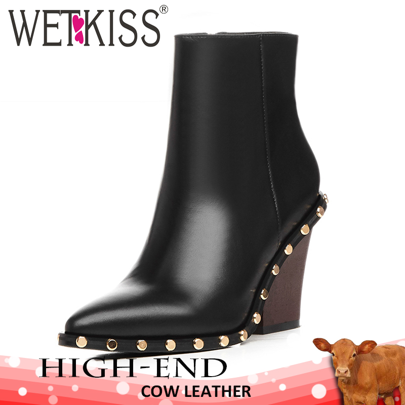 b25c80bcb8 US $58.42 40% di SCONTO|WETKISS di Marca Genuino Stivali di Pelle Rivetto  Donne di Spessore Tacchi Alti Alla Caviglia di Boot Femminile Zip Scarpe A  ...