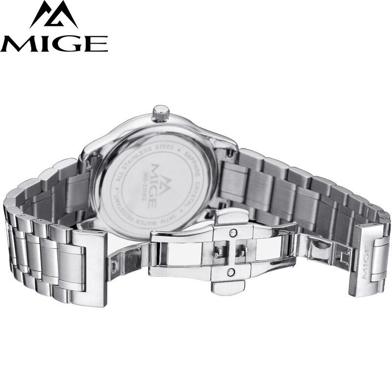 Mige 2017 настоящая Новинка распродажа мужские часы Белый Черный Коричневый кожаный бизнес водонепроницаемый корпус из розового золота ультра... - 4
