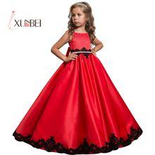 Платье принцессы из сатина, расшитое бисером; Длина до пола; Красные Платья с цветочным узором для девочек; коллекция года; черное праздничное платье с аппликацией для девочек; платья для первого причастия