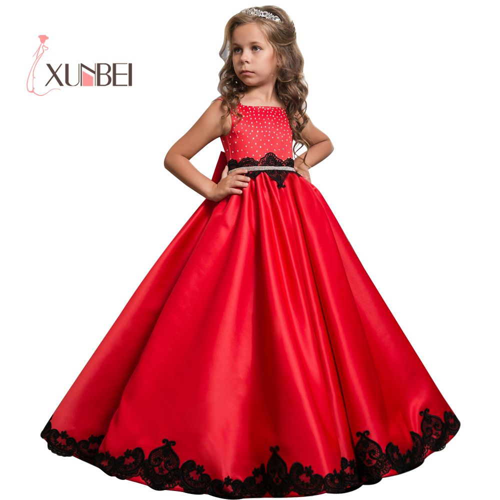 Princess Satin Beaded Floor Length Red Flower Girl Dresses Black Appliques Girls Pageant Dress First Communion Dresses