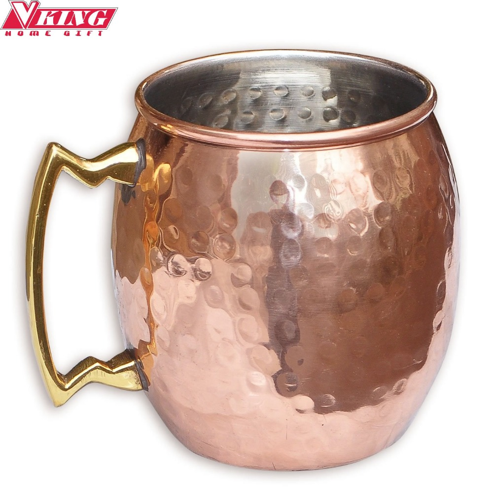 vking hammered copper plated moscow mule mug stainless steel beer cup copper mug rose - Copper Mule Mugs