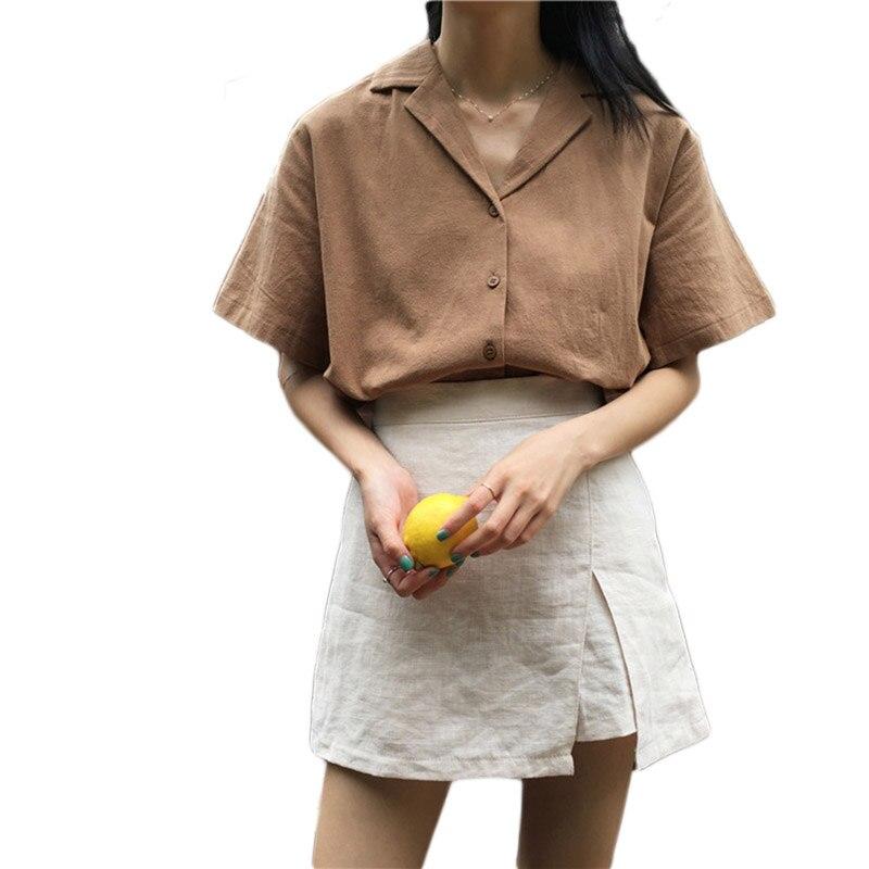 Shirt Vrouwen V-hals Casual Top 2018 Zomer Kantoor Werk Blouse Effen Kleur Eenvoudige Katoenen Shirts Lq0035