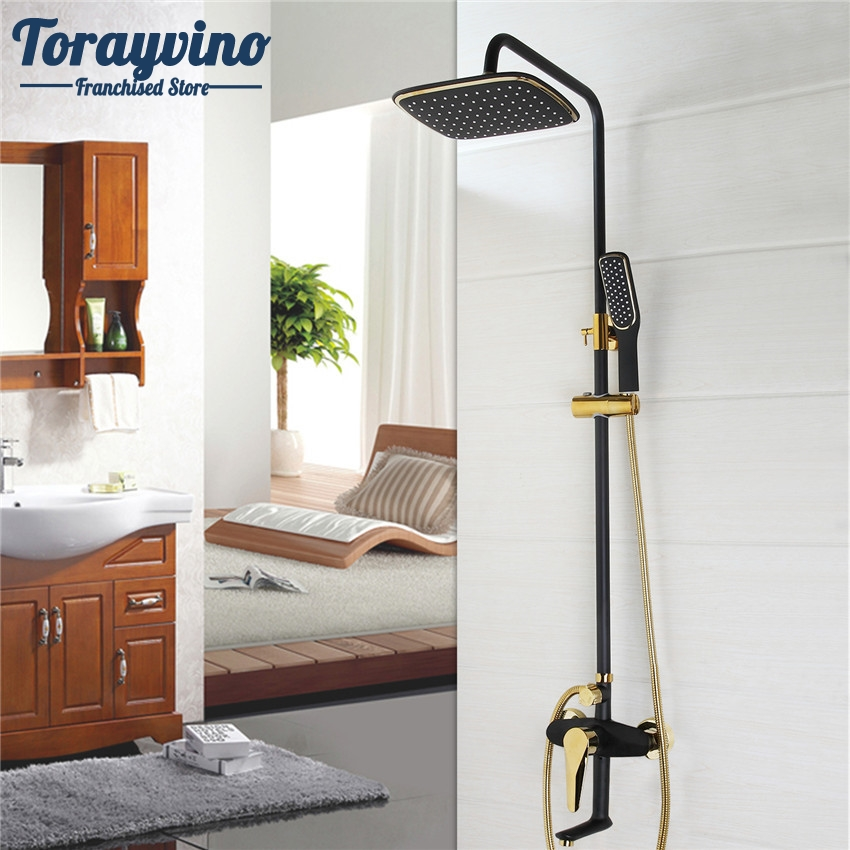 Torayvino Bathroom Luxury Oil Rubbed Bronze With Some Golden Polished Shower Faucet Set ABS Shower Head Wall Mounted Shower Set