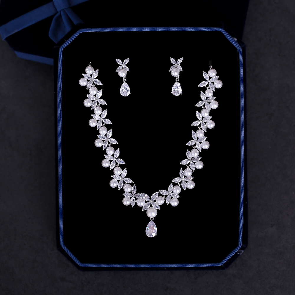 Trendy Wedding Bridal Jewelry Set Cubic Zirconia Necklace Marquise Cut Zircon Flower Choker Simulated Pearl Earrings Jewellery classical malachite green round shell simulated pearl abacus crystal 7 rows necklace earrings women ceremony jewelry set b1303