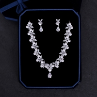 Trendy Wedding Bridal Jewelry Set Cubic Zirconia Necklace Marquise Cut Zircon Flower Choker Simulated Pearl Earrings Jewellery